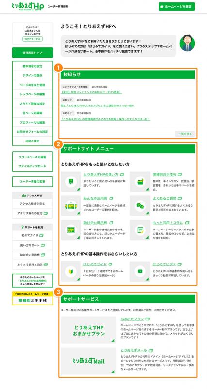 管理画面トップの説明